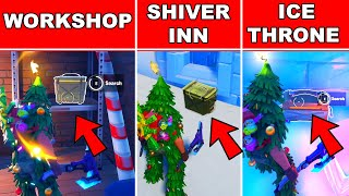 SEARCH AMMO BOXES AT THE WORKSHOP, SHIVER INN OR ICE THRONE FORTNITE - WINTERFEST LOCATIONS