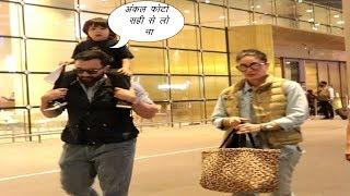 Saif Ali Khan, Kareena Kapoor & Taimur Return To Mumbai After Celebrating Sharmila Tagore Birthday