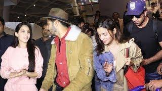 Bollywood Celebs Spotted At Mumbai Airport   Full Video   Alia, Ranbir, Varun, Nora, Natasha