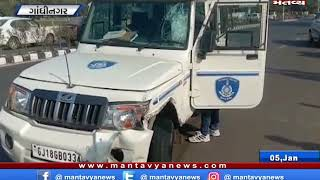 Gandhinagar: પોલીસ વેન-બાઇક વચ્ચે અકસ્માત