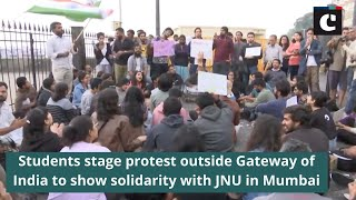 Students stage protest outside Gateway of India to show solidarity with JNU in Mumbai