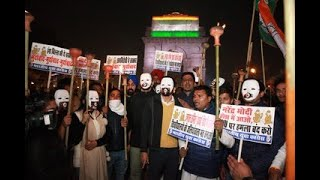 IYC gather at India Gate for a candle light march to protest the violent actions of ABVP in JNU