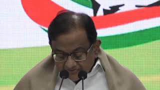 P Chidambaram addresses media at Congress HQ on The Economic Crisis