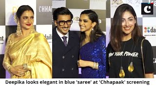 Deepika looks elegant in blue 'saree' at 'Chhapaak' screening