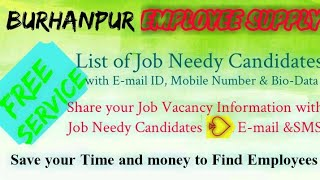 BURHANPUR      EMPLOYEE SUPPLY   ! Post your Job Vacancy ! Recruitment Advertisement ! Job Informati