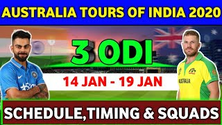 India vs Australia ODI Series 2020 : Squads & Schedule | IND vs AUS 2020 |