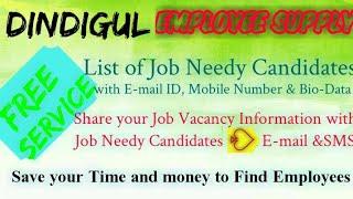 DINDIGUL      EMPLOYEE SUPPLY   ! Post your Job Vacancy ! Recruitment Advertisement ! Job Informatio