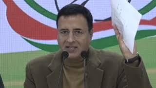 Randeep Singh Surjewala addresses media at Congress HQ on Inflation