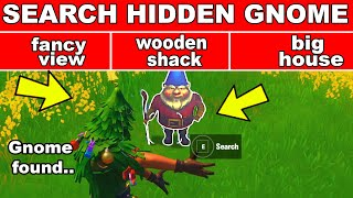 Search the Hidden GNOME found inbetween Fancy View, a Wooden Shack, and a Big House Fortnite