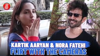 Kartik Aaryan & Nora Fatehi Are All Smiles As They Flirt With The Cameras