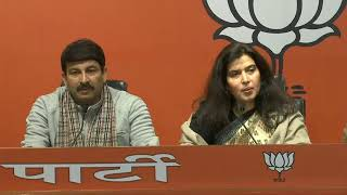 Press conference by Sushree Saroj Pandey and Shri Manoj Tiwari at BJP headquarters.
