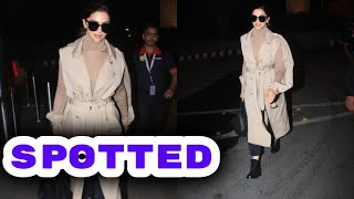 Deepika Padukone Spotted at Airport flaunting her Stylish Trench Coat