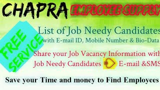CHAPRA     EMPLOYEE SUPPLY   ! Post your Job Vacancy ! Recruitment Advertisement ! Job Information !