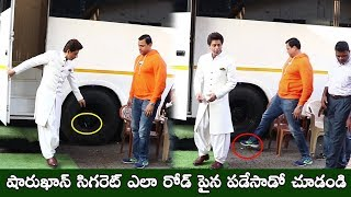 Shahrukh Khan THROWS His Burning Cigarette On The Road & His Bodyguard Puts It Off