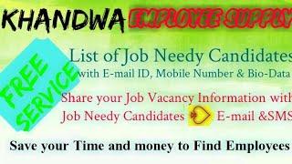 KHANDWA    EMPLOYEE SUPPLY   ! Post your Job Vacancy ! Recruitment Advertisement ! Job Information !