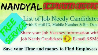 NANDYAL     EMPLOYEE SUPPLY   ! Post your Job Vacancy ! Recruitment Advertisement ! Job Information