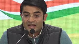 Jaiveer Shergill addresses media at Congress HQ on the on Frost International Ltd Bank Fraud Scam