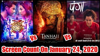 Tanhaji Vs Street Dancer Vs Panga Screen Count Estimates On January 24, 2020