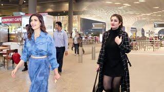 Raveena Tandon And Karishma Tanna Spotted At mumbai Airport