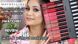 MAYBELLINE  SENSATIONAL LIQUID MATTE LIPSTICKS | ALL 11 SHADES | REVIEW & SWATCHES | NIDHI KATIYAR