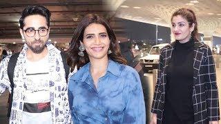 Spotted At Airport : Raveena Tandon, Ayushmann Khurrana & Karishma tanna