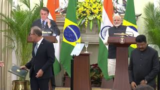 PM Modi and Brazil's President Bolsonaro at Exchange of Agreements and Joint Press Meet in New Delhi