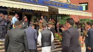 Rahul Gandhi and Priyanka Gandhi reach NHRC Office to file a Complaint