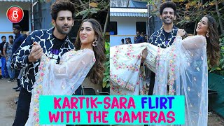 Kartik Aaryan And Sara Ali Khan Flirt With The Cameras As They Shoot For Indian Idol | Love Aaj Kal