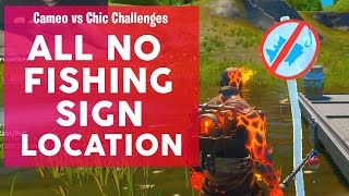 Catch an item with a Fishing rod at different locations with No Fishing Signs Fortnite