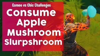 Consume an apple, a mushroom and a Slurpshroom Fortnite