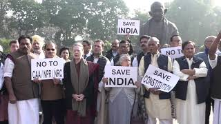 CP Smt Sonia Gandhi, Rahul Gandhi and senior Congress leaders hold a Save The Constitution protest