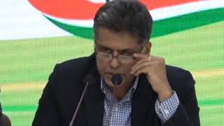 Manish Tewari addresses media at Congress HQ on Economic Crisis