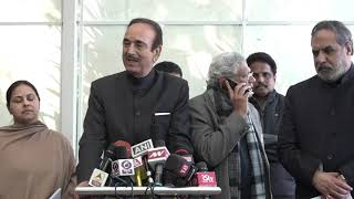 Ghulam Nabi Azad and Anand Sharma addresses media in Parliament House on President's Address