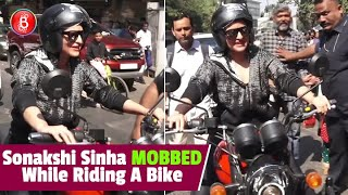 Sonakshi Sinha Was Mobbed By A Barrage Of Shutterbugs As She Rode A Royal Enfield Bike
