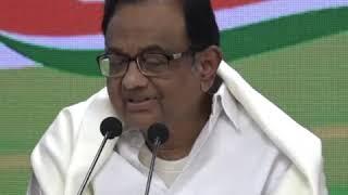 P Chidambaram addresses media at Congress HQ on Budget 2020