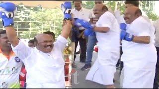 பாக்சிங்கில் அசத்திய அமைச்சர் ஜெயக்குமார்! | Minister Jayakumar boxing video