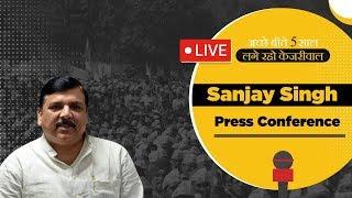 Senior AAP Leader and Rajyasabha MP Sanjay Singh addressing a press conference.