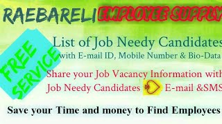 RAEBARELI     EMPLOYEE SUPPLY   ! Post your Job Vacancy ! Recruitment Advertisement ! Job Informatio