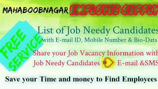 MAHBOOBNAGAR     EMPLOYEE SUPPLY   ! Post your Job Vacancy ! Recruitment Advertisement ! Job Informa