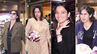Spooted At Airport : Kajol, Hema Malini, Tamannaah, Teejay Sidhu, Esha Deol
