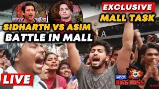 Bigg Boss 13 MALL TASK LIVE   Sidharth Vs Asim FANS BATTLE   Bollywood Spy At Oberoi Mall