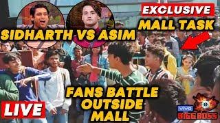 Bigg Boss 13 MALL TASK LIVE   Sidharth Vs Asim FANS BIG BATTLE   Bollywood Spy At Oberoi