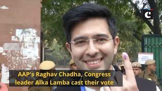 AAP's Raghav Chadha, Congress leader Alka Lamba cast their vote