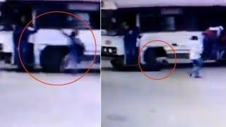 Hyderabad viral video बस में चढ़ते हुए छात्र का हाथ फिसला और THE NEWS INDIA