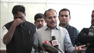 Adhir Ranjan Chowdhury and Manickam Tagore address media on ruckus in Lok Sabha Today