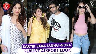 Kartik Aaryan, Janhvi Kapoor, Sara Ali Khan, Nora Fatehi Flaunt Their Rocking Airport Looks