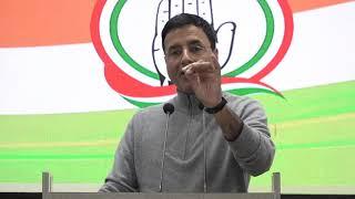 Randeep Singh Surjewala addresses media in Congress HQ on LPG Price Hike