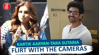 Kartik Aaryan-Tara Sutaria Caught Flirting With The Cameras Around Town