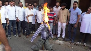 Youth congress burn effigy of Sawaikar for his controversial statement on Archbishop over CAA