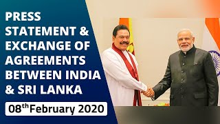 Press Statement & Exchange of Agreements Between India & Sri Lanka